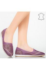 Pantofi piele naturala Cess mov