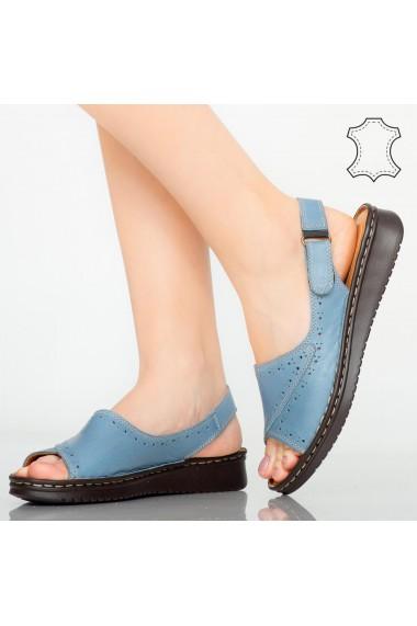 Sandale piele naturala Algo albastre