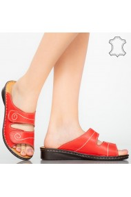 Papuci piele naturala Rodo Rosii