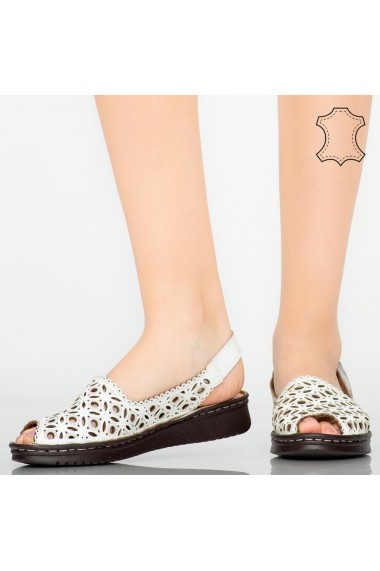 Sandale piele naturala Doga albe