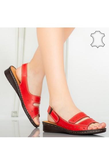Sandale piele naturala Rima rosii