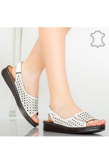 Sandale piele naturala Baly albe