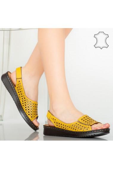 Sandale piele naturala Baly galbene