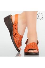 Platforme piele naturala Cuf portocalii