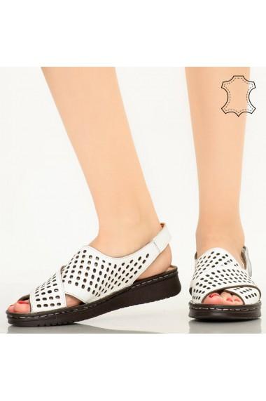 Sandale piele naturala Cox albe
