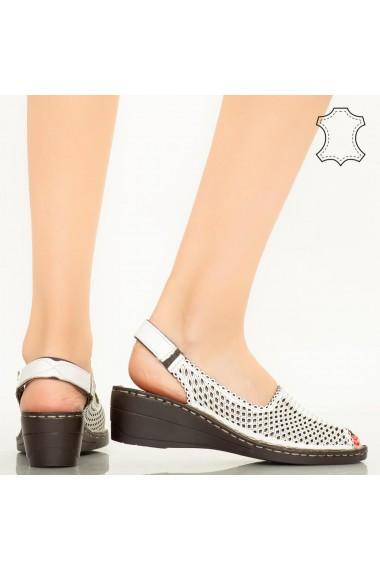 Sandale piele naturala Bak albe