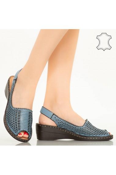 Sandale piele naturala Bak albastre