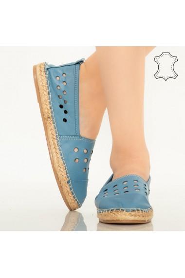 Pantofi piele naturala Dove albastri