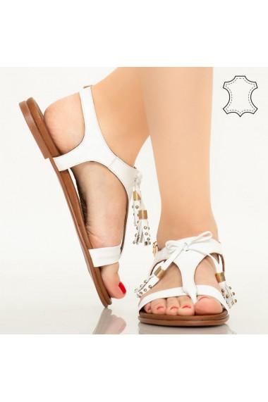 Sandale piele naturala Ioge albe