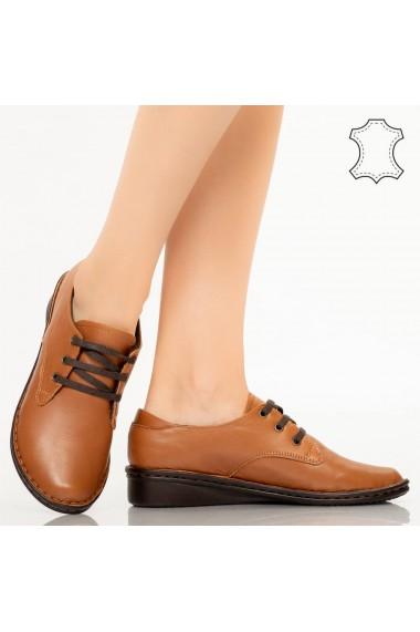 Pantofi piele naturala Ini camel