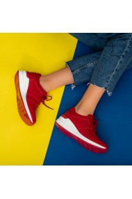 Adidasi piele naturala Tex rosii