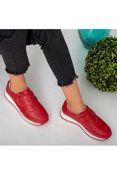 Adidasi piele naturala Vany rosii