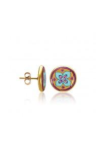 Cercei din portelan fin cu aur Roz stil Desert Tortita surub ZEMA