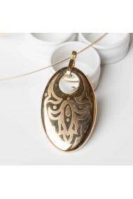 Pandantiv din portelan placat cu aur oval pe colier metal antialergic ZEMA