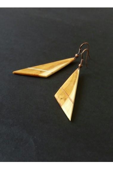 Cercei Opaline Crafts din lemn de Tuia si insertie de cupru lucrati manual
