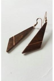 Cercei handmade Opaline Crafts din lemn de Nuc si insertie de cupru