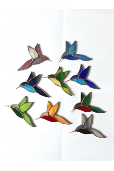 Brosa handmade Opaline Crafts pasare multicolor Vitraliu