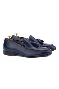 Mocasini eleganti din piele naturala albastra 0128
