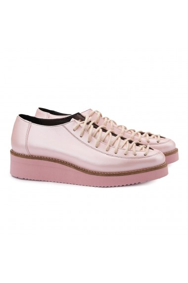 Pantofi casual din piele naturala roz prafuit 1411