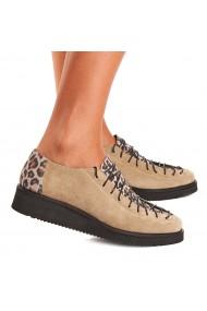 Pantofi dama casual bej piele naturala 1263