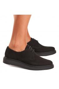 Pantofi dama casual din piele intoarsa neagra 1554