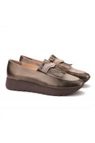 Pantofi dama casual din piele maro sidef 1387