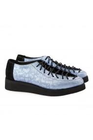 Pantofi dama casual din piele naturala bleu 1385