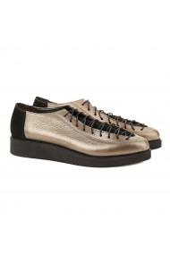 Pantofi dama casual din piele naturala bronz 1562