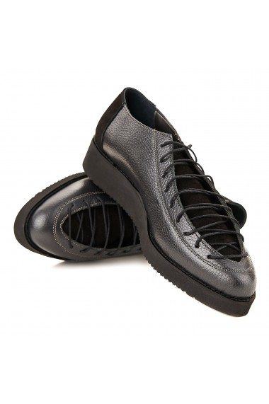 Pantofi dama casual din piele naturala gri 1563