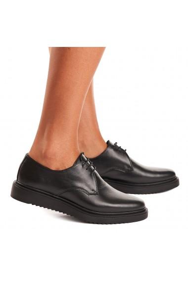 Pantofi dama casual din piele naturala neagra 1553