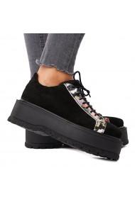 Pantofi dama casual din piele naturala neagra 1594