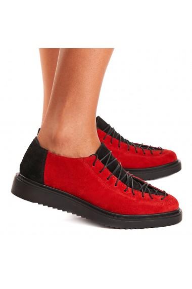 Pantofi dama casual din piele naturala rosie 1400