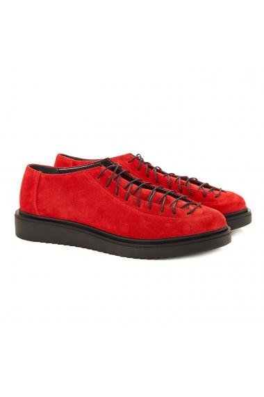 Pantofi dama casual din piele naturala rosie 1403