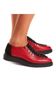 Pantofi dama casual din piele naturala rosie 1408