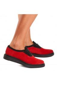 Pantofi dama casual din piele naturala rosie 1442