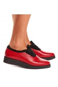 Pantofi dama casual din piele naturala rosie 1547