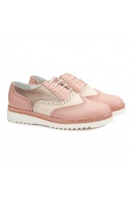 Pantofi dama casual din piele naturala roz 1473