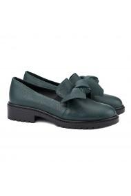 Pantofi dama casual din piele naturala verde 1381