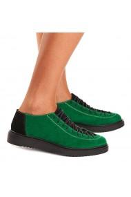 Pantofi dama casual din piele naturala verde 1406