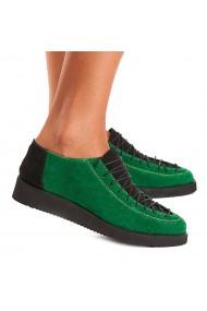 Pantofi dama casual din piele naturala verde 1548