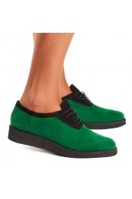 Pantofi dama casual din piele naturala verde 1549