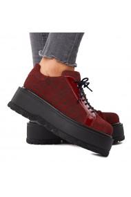 Pantofi dama casual din piele naturala visinie 1592