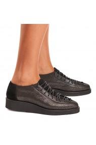 Pantofi dama casual negrii piele naturala 1258