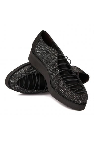 Pantofi dama casual negrii piele naturala 1596