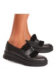 Pantofi dama casual piele naturala neagra 1537