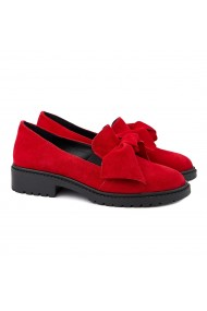 Pantofi dama din piele naturala intoarsa rosie 1377