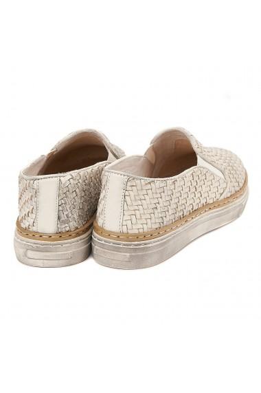 Pantofi dama piele albi impletiti 1311