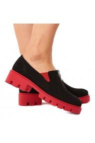 Pantofi dama piele neagra velur fara siret 1580