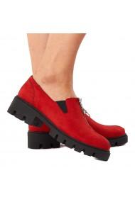 Pantofi dama piele rosie fara siret 1579