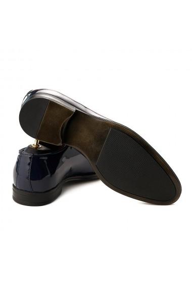 Pantofi de Ceremonie din Piele Naturala Albastra Lacuita 747